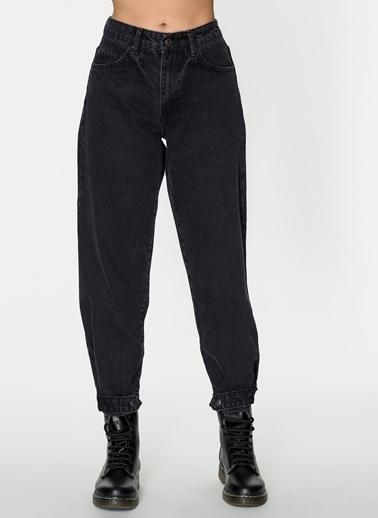 Loves You Paça Detaylı Slouchy Fit Jean Pantolon Siyah